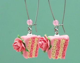 Miniature Rose Cake Earrings | Miniature Food Jewelry