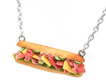 Miniature Submarine Sandwich Necklace | Mini Food Jewelry