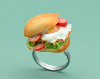 Sunny Side Up Sandwich Ring | Miniature Food Jewelry
