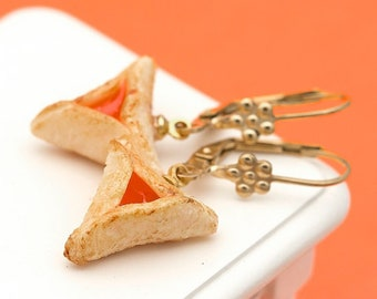 Miniature Apricot Filling Hamantaschen Dangle Earrings | Handmade Miniature Food Jewelry
