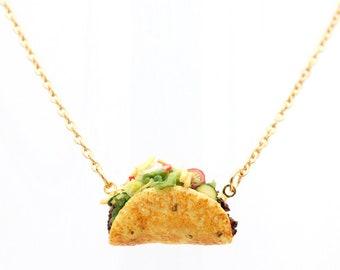 Miniature Taco Charm Necklace | Miniature Food Jewelry