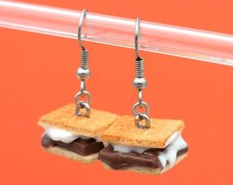 Mini S'more Earrings | Handmade Miniature Food Jewelry