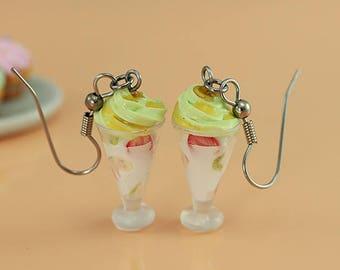 Green Tea Frozen Yogurt Earrings