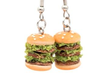 Miniature Hamburger Earrings | Fake Junk Food Jewelry