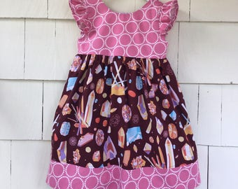 Gemstone Dress   Flutter Sleeve Dress  Science Dress   Rocks Crystals   Geology   Rose Quartz   Diamond   Natural History   Stem Girl   B