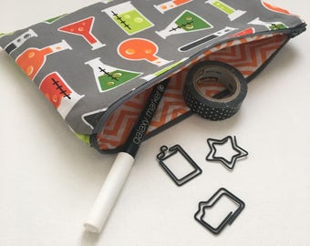 Chemistry Zipper Pouch | Lab Experiment |Makeup Bag | Pencil Bag | Math Bag | STEM Girl |Geek Gift | Nerd Gift | gifts under 20