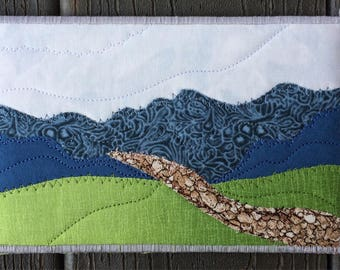 Thank You Gift - Fabric Postcard - Mountain Hike - Quilted Art - Small Quilt - Landscape Art - Mountain Landscape - Blue Ridge Mountains