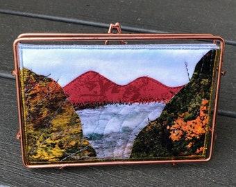 Mountain River Landscape Art- Fall Quilt Art - Home Decor - Travel Keepsake - Hostess Gift - Fabric Postcard - Autumn Art - Gift for Her