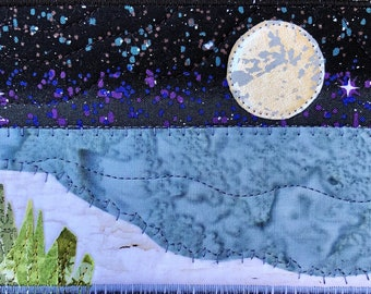 Moon and Stars Landscape - Rustic Art - Quilted Postcard - Serene Landscape - Fabric Art - Home Decor - Fabric Postcard - Beach Landscape
