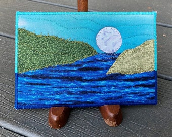 Moon Landscape - Rustic Art - Quilted Postcard - Serene Landscape - Fabric Art - Home Decor - Fabric Postcard - Moon Over the Lake