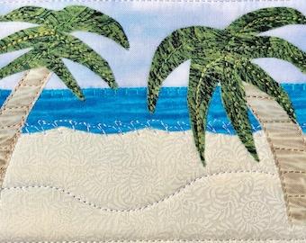 Palm Trees Landscape Art - Ocean Mom Gift - Fabric Postcard Quilt Art - Coastal Art - Vacation Memory - Hostess Gift - Tropical Oasis