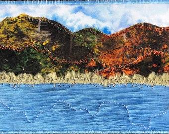 Fall Mountain Lake Landscape Art- Quilt Art - Home Decor - Travel Keepsake - Hostess Gift - Fabric Postcard - Autumn Art - Gift for Her