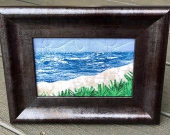 Beach Landscape art - Beach Mom Gift - Fabric Postcard Quilt Art - Coastal Art - Vacation Memory - Hostess Gift - Tropical Oasis