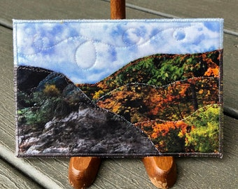 Fall Mountain Landscape Art- Quilt Art - Home Decor - Travel Keepsake - Hostess Gift - Fabric Postcard - Autumn Art - Gift for Her