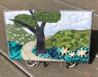 Landscape Fabric Postcard Art - Mountain Landscape - Quilt Postcard - Hostess Gift - Hike in the Woods
