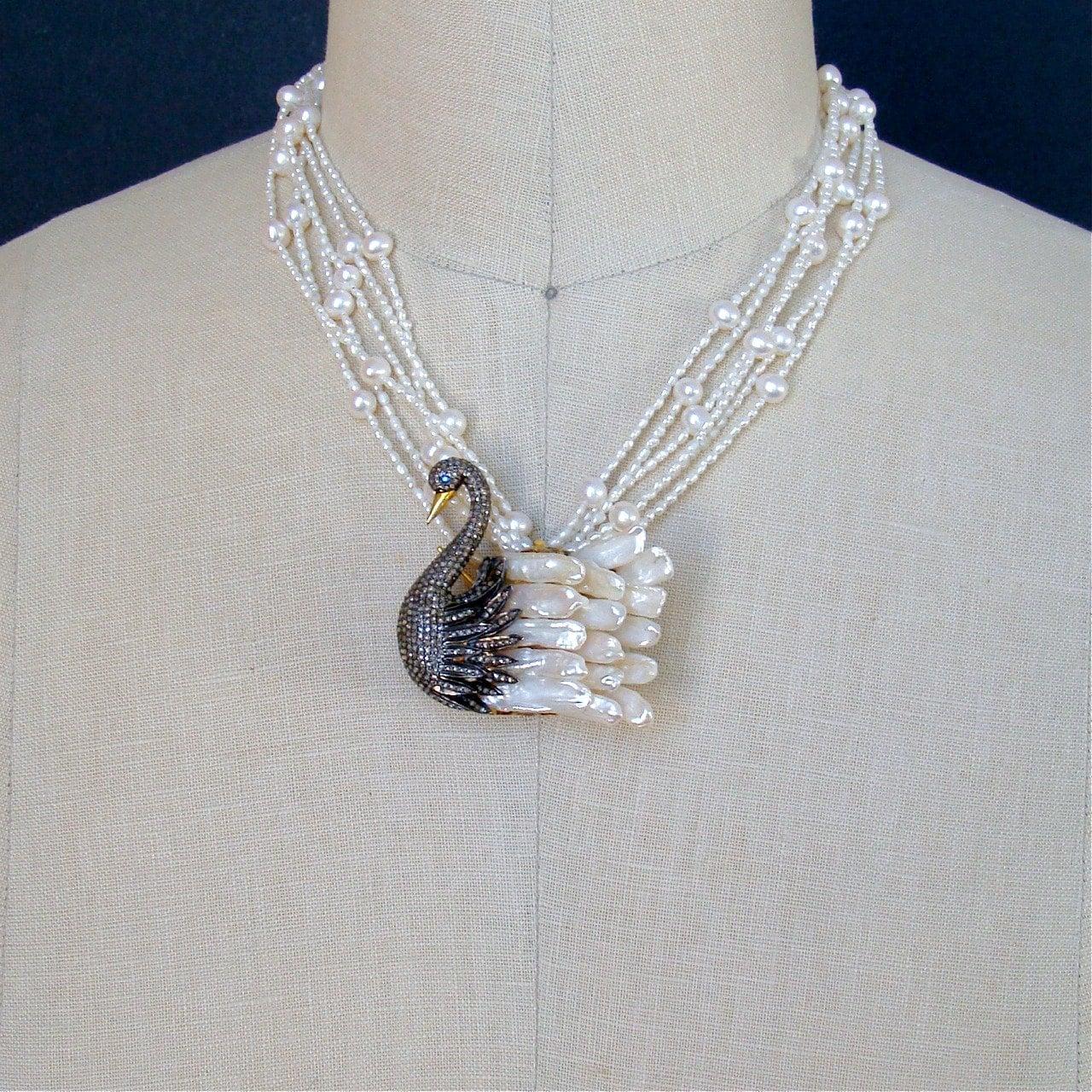Torsade Necklace: Freshwater Pearls Diamond Swan Pendant Torsade Necklace