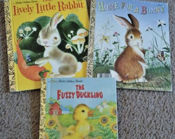 Books, Set of Three, Vintage 1961, 1971, 1977,  The Fuzzy Duckling, Home For a Bunny, The Lively Little Rabbit, Little Golden Books