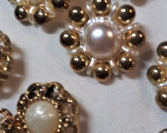 Buttons, Vintage, Decorative Gold Tone with Faux Pearl centers, Shank,  3/4 to 7/8 inches