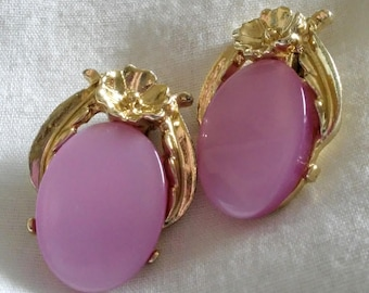Clip On Earrings, Vintage, Pink with a Hint of Purple Oval Stone and Framed by Gold Tone setting on the back and bottom