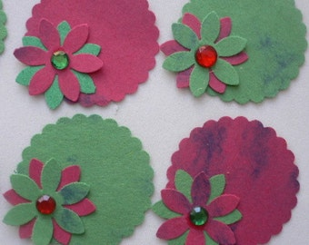 """10 Handmade 1  1/2"""" Scallop Circles Layered with a 1"""" Flower.  Christmas, Label, Tag, Scrap Booking, Card Making, Embellishment,"""