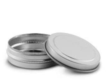 2 oz Silver Shallow Metal Tin set 18 Pc lip balm solid lotion lip gloss pot body butter diaper cream