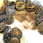 "1800s BUTTONS charm bracelet. Victorian cut steel & brass.  7.75""  sterling silver ooak jewellry. 23 ANTIQUE buttons."