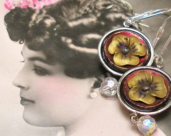 """Pansy BUTTON earrings, Victorian Flowers on silver. 1.75"""" Antique button jewellery. Unique present, gift."""
