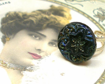 Snowflake, 1800s BUTTON ring. Victorian black glass with raonbow luster on adjustable sterling band. Unique present, gift.