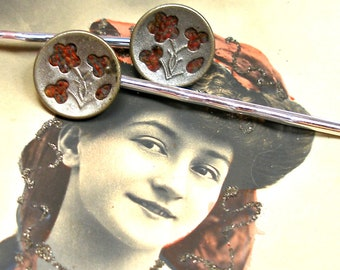 Antique BUTTON silver bobby pins, Victorian perfume buttons on hair grips, hair slides.