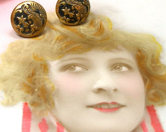Shooting Star BUTTON earrings. Art Nouveau buttons on sterling silver posts. One of a kind jewellery.