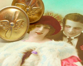 BUTTON cuff links, Uniform with wings & propeller on gold. Antique button jewellery.