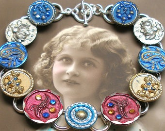 """Paris Paisley Antique BUTTON bracelet, French Victorian buttons in blue & pink, 7.75"""" jewellery. Present, gift."""