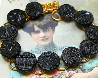 """1800s Lacy BUTTON bracelet, Victorian black glass 7.75"""" gold bracelet. One of a kind jewellery."""