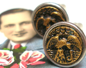 Eagle & snake, Antique BUTTON cuff links. Victorian bird on gold. Antique Button Jewelry. Unique present gift.