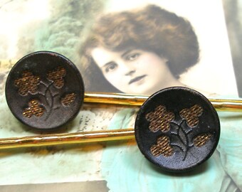 Antique BUTTON gold bobby pins, Victorian perfume buttons on hair grips, hair slides.