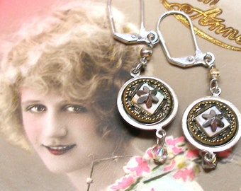 """1800s Antique BUTTON earrings, Victorian tiny buttons. One of a kind jewellery, 2""""."""