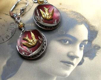 1800s BIRD BUTTON earrings, Victorian songbirds on brass. Antique button jewellery.