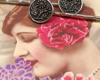 Antique BUTTON hair pins, 1800's Purple Victorian FLOWERS on silver bobby pins, hair grips. Present, gift.
