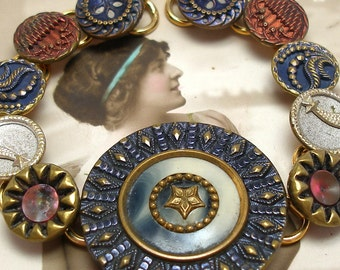 """Wish, Antique BUTTON bracelet, Victorian shooting STARS & flowers in red white blue. 8.25"""" jewellery."""