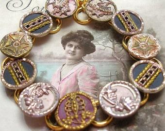 "Antique BUTTON bracelet, Victorian BUTTERFLIES & crowns, 7.5"" Buttons jewellery."