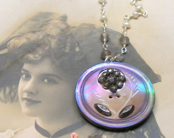1800s Antique BUTTON necklace, Victorian cut steel flower on sterling silver chain.