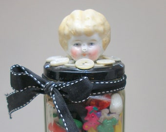 Button jar with Victorian doll head. Unique gift, vase, container.