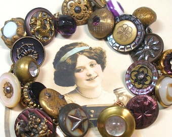 """1800s BUTTON charm bracelet, Antique Victorian STARS in purple & gold. 7"""" one-of-a-kind jewellery."""