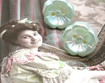 40s BUTTON earrings, Mint glass flowers on sterling silver posts. Antique button jewelry, jewellery.