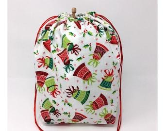 SALE - Holiday Christmas Bells Holly Knitting Drawstring Project Bag