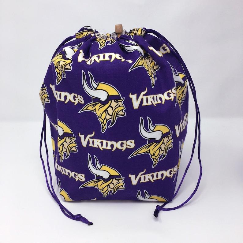 Minnesota Vikings Football Drawstring Knitting Crochet Project Bag HOLIDAY SALE