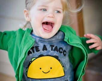 Acid Wash Charcoal Taco Toddler Kid Youth Teenager T-Shirt, Unisex Boy Girl Children's Graphic Tee Shirt, Kawaii Clothes, Cute, Funny