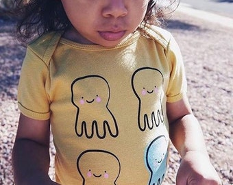 Yellow Quadropus Octopus Baby Toddler Kid T-Shirt, Children's Graphic Tee, Kawaii, Cute, Funny, Ecofriendly, Unisex - Organic Cotton ON SALE