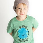 Green No Place Like Home Earth T-Shirt, Children's Graphic Tee, Kawaii, Cute, Funny, Ecofriendly Earth Day - Organic Triblend