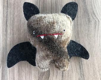 Brown Halloween Bat - Recycled Wool Sweater Sighfoo Plush Toy